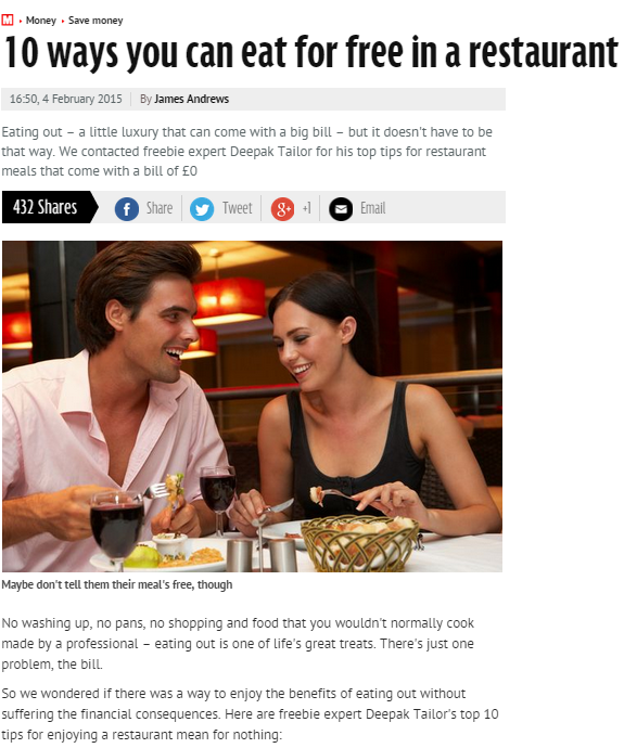 Top 10 Ways To Eat Out For Free