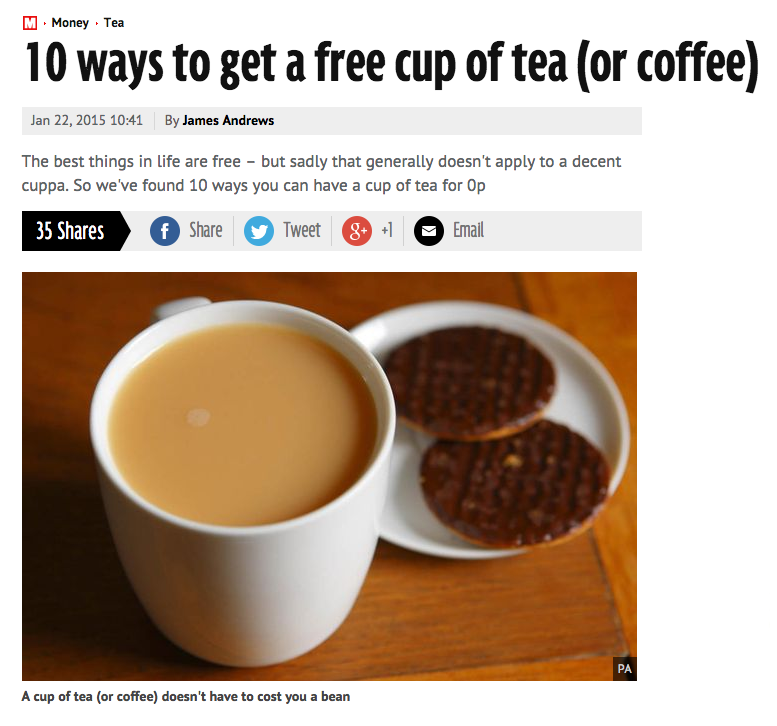 Top 10 Ways To Get A Free Cup Of Tea
