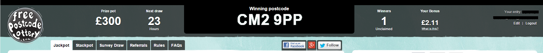 free postcode lottery website
