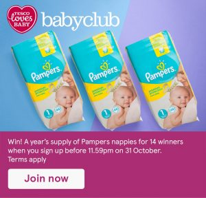Win a year's supply of Pampers nappies with Tesco Baby Club