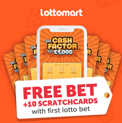 Free Lotto Bet and 10 Free £1,000 Scratchcards