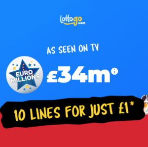 £34M EuroMillions Jackpot – Get 10 chances for just £1